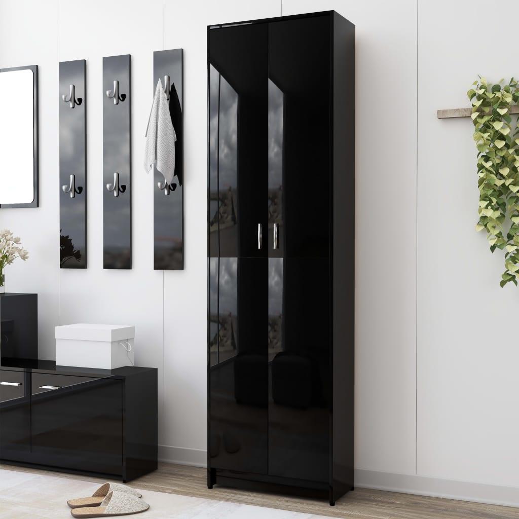 vidaXL Șifonier de hol, negru extralucios, 55 x 25 x 189 cm, PAL vidaxl.ro