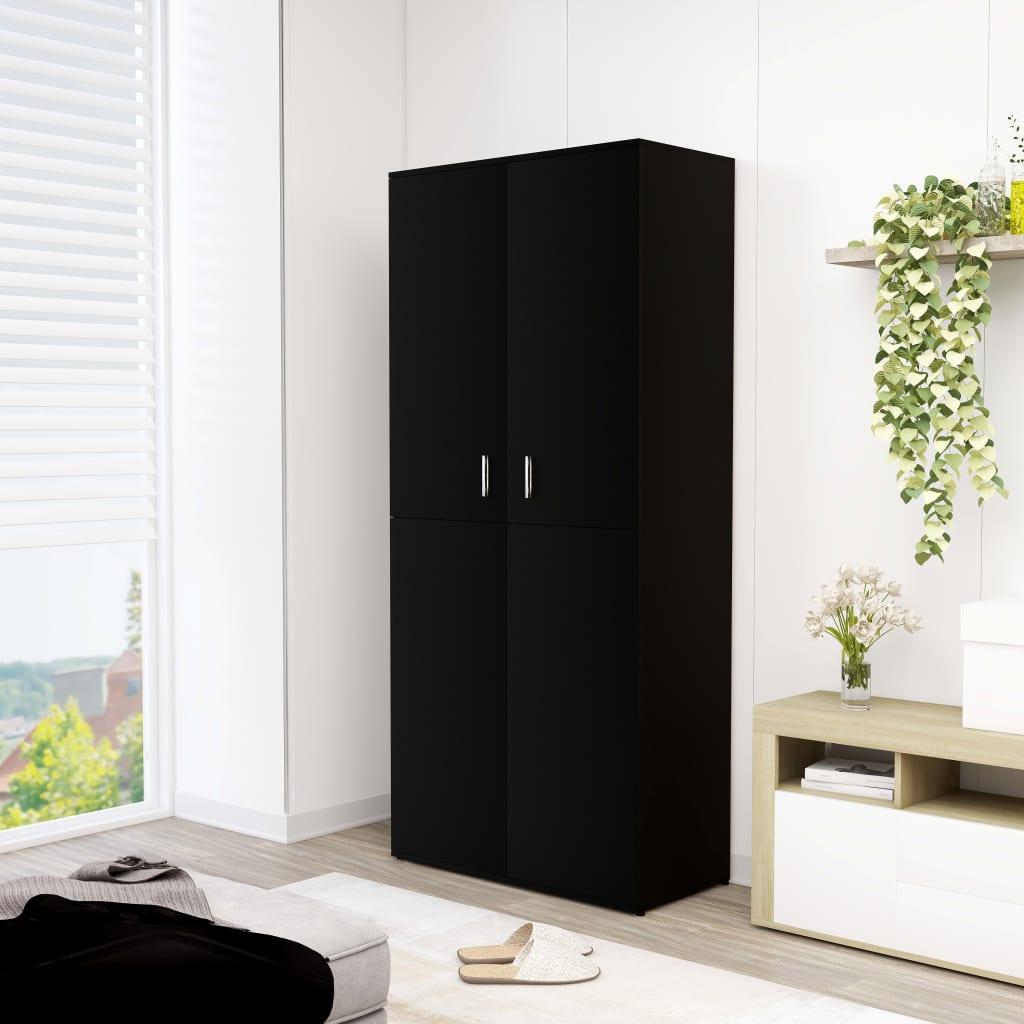 vidaXL Pantofar, negru, 80 x 39 x 178 cm, PAL vidaxl.ro