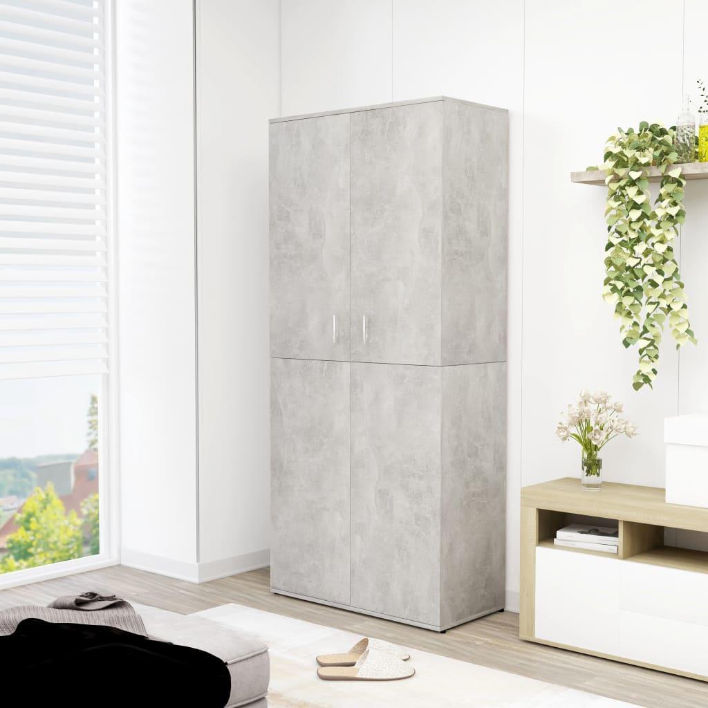 vidaXL Pantofar, gri beton, 80 x 39 x 178 cm, PAL imagine vidaxl.ro