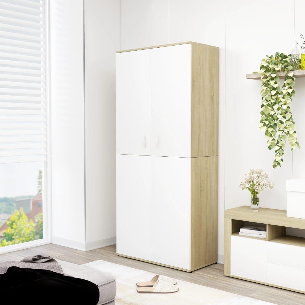 vidaXL Pantofar, alb și stejar Sonoma, 80 x 39 x 178 cm, PAL imagine vidaxl.ro