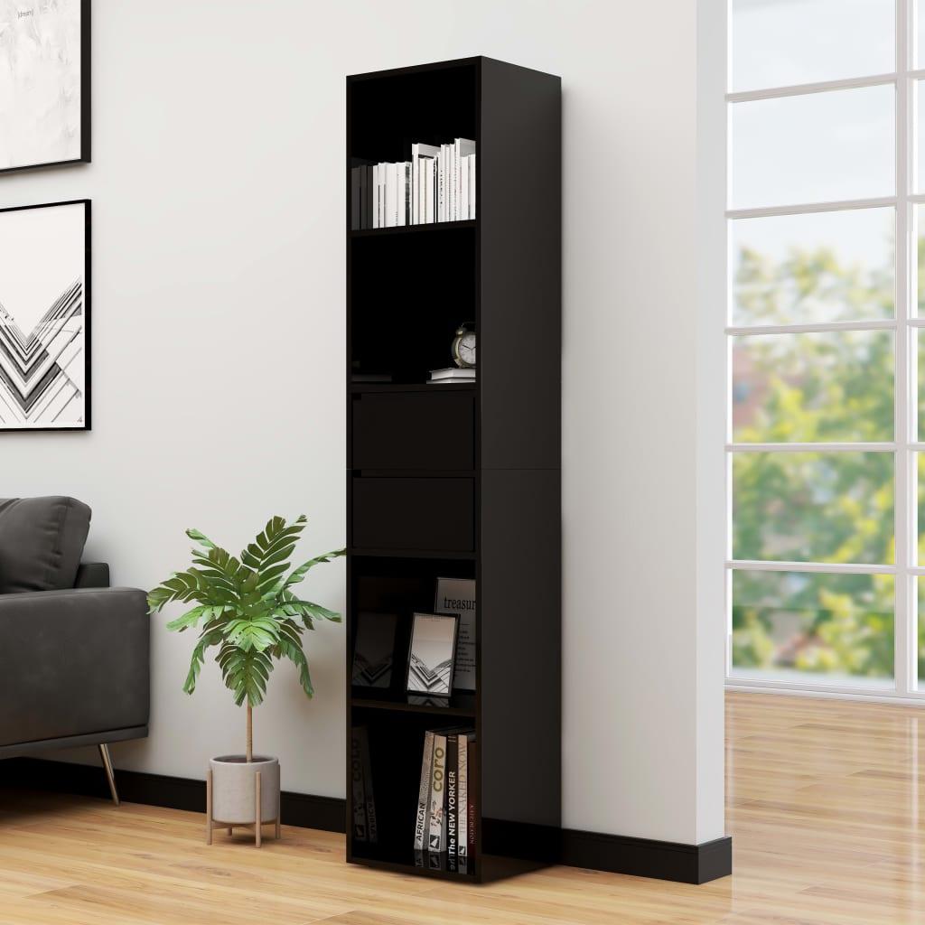 vidaXL Bibliotecă, negru extralucios, 36 x 30 x 171 cm, PAL imagine vidaxl.ro