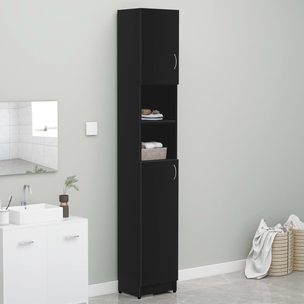Koupelnová skříňka černá 32 x 25,5 x 190 cm dřevotříska