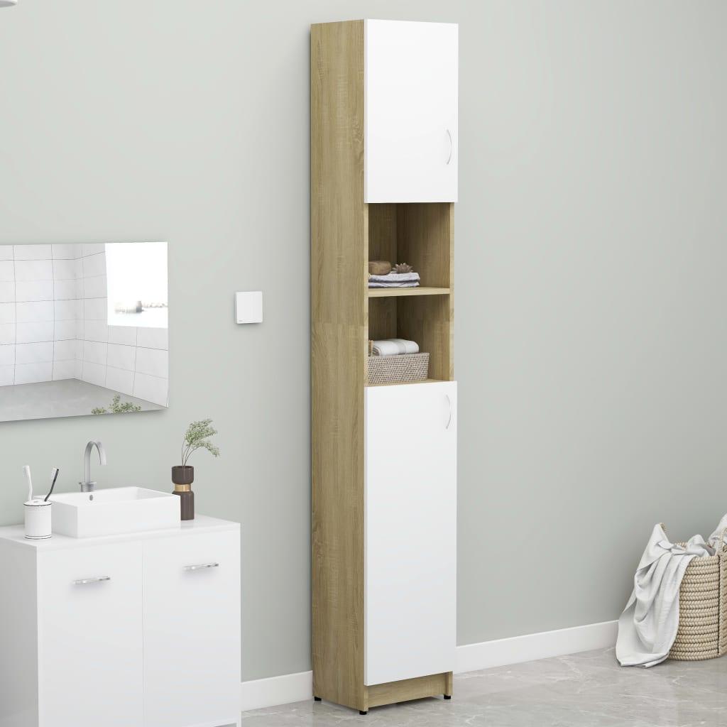 Koupelnová skříňka bílá dub a sonoma 32x25,5x190 cm dřevotříska