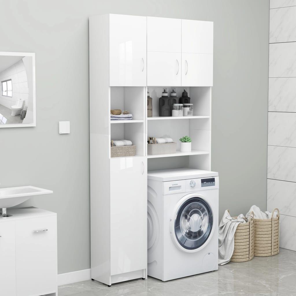 Koupelnová skříňka bílá vysoký lesk 32x25,5x190 cm dřevotříska