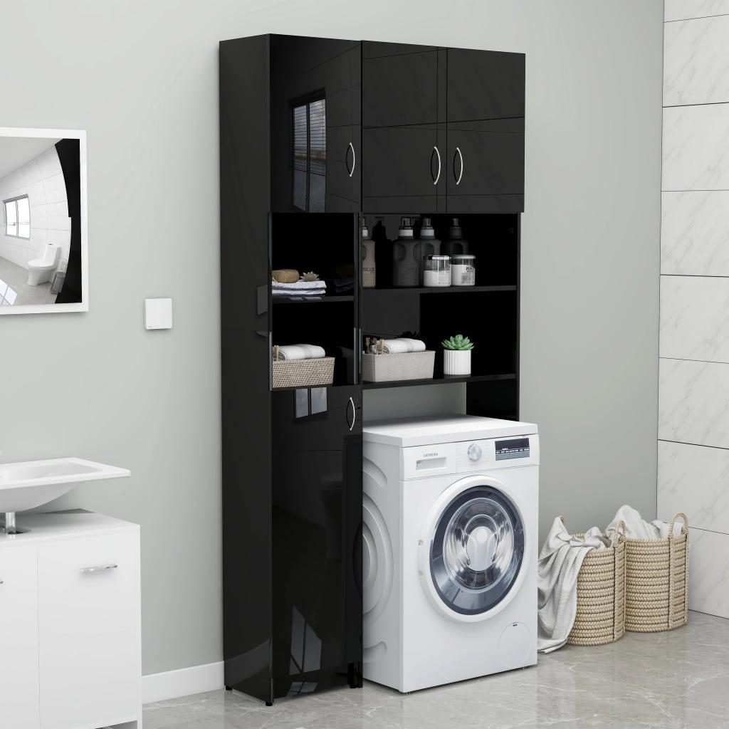 Koupelnová skříňka černá vysoký lesk 32x25,5x190 cm dřevotříska