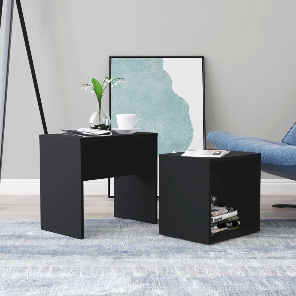 Set konferenčních stolků černý 48 x 30 x 45 cm dřevotříska