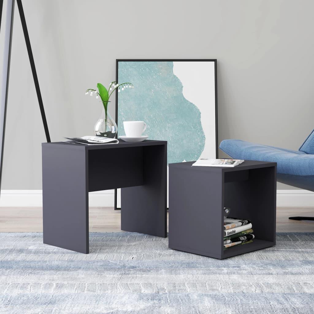 Set konferenčních stolků šedý 48 x 30 x 45 cm dřevotříska