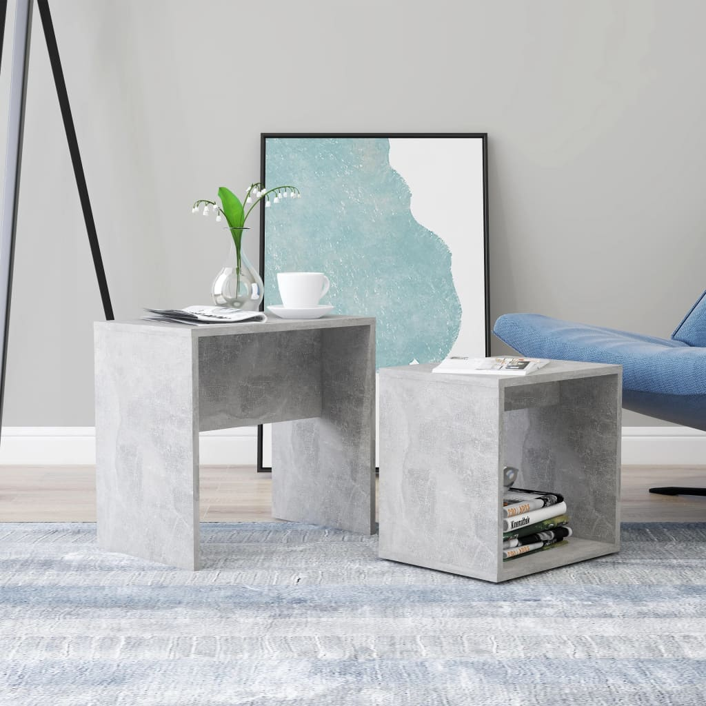 Set konferenčních stolků betonově šedý 48x30x45 cm dřevotříska
