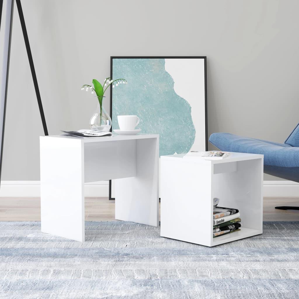 Set konferenčních stolků bílý vysoký lesk 48x30x45 dřevotříska