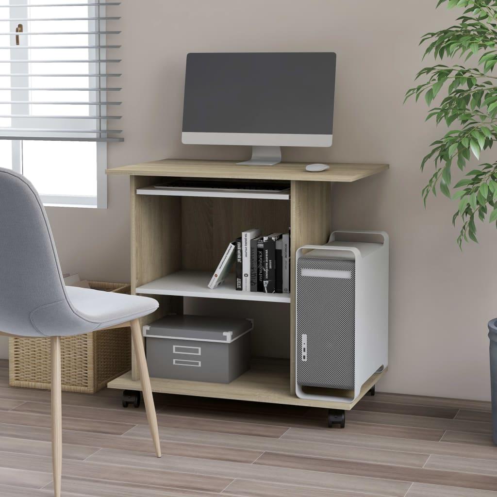 Počítačový stůl bílý a sonoma dub 80 x 50 x 75 cm dřevotříska