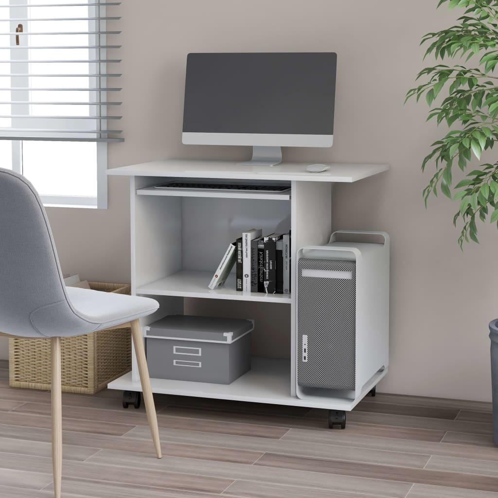 Počítačový stůl bílý s vysokým leskem 80x50x75 cm dřevotříska