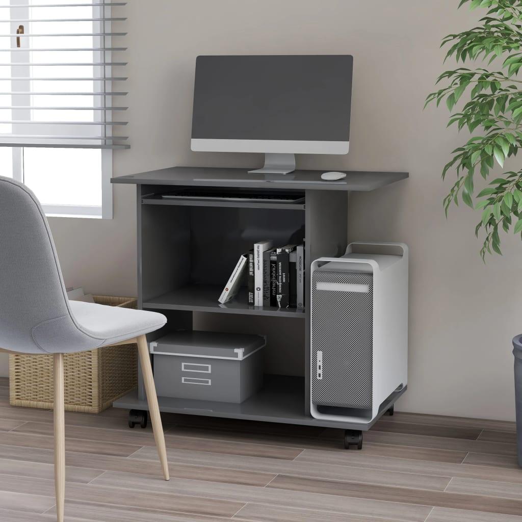 Počítačový stůl šedý s vysokým leskem 80x50x75 cm dřevotříska