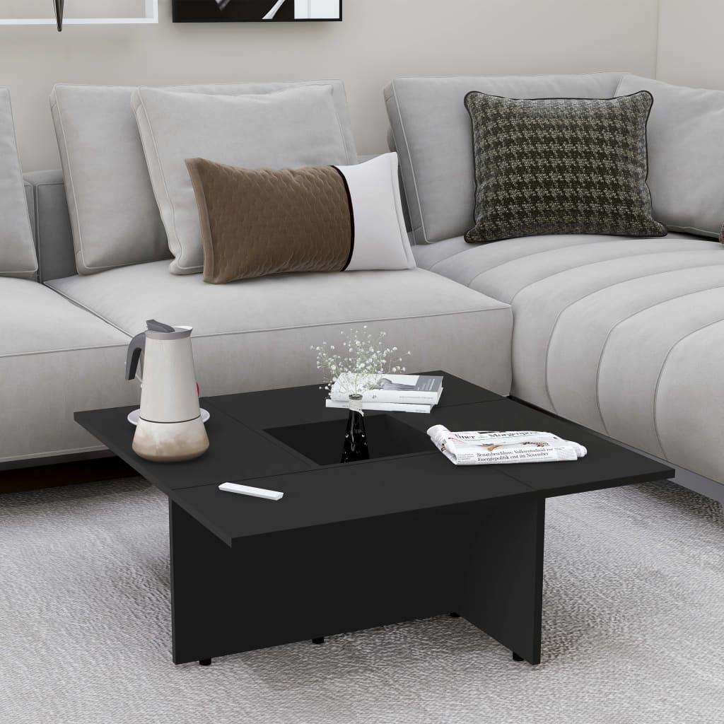Konferenční stolek černý 79,5 x 79,5 x 30 cm dřevotříska