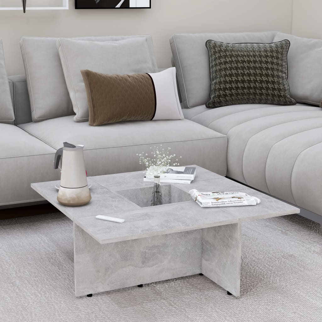 Konferenční stolek betonově šedý 79,5 x 79,5 x 30cm dřevotříska