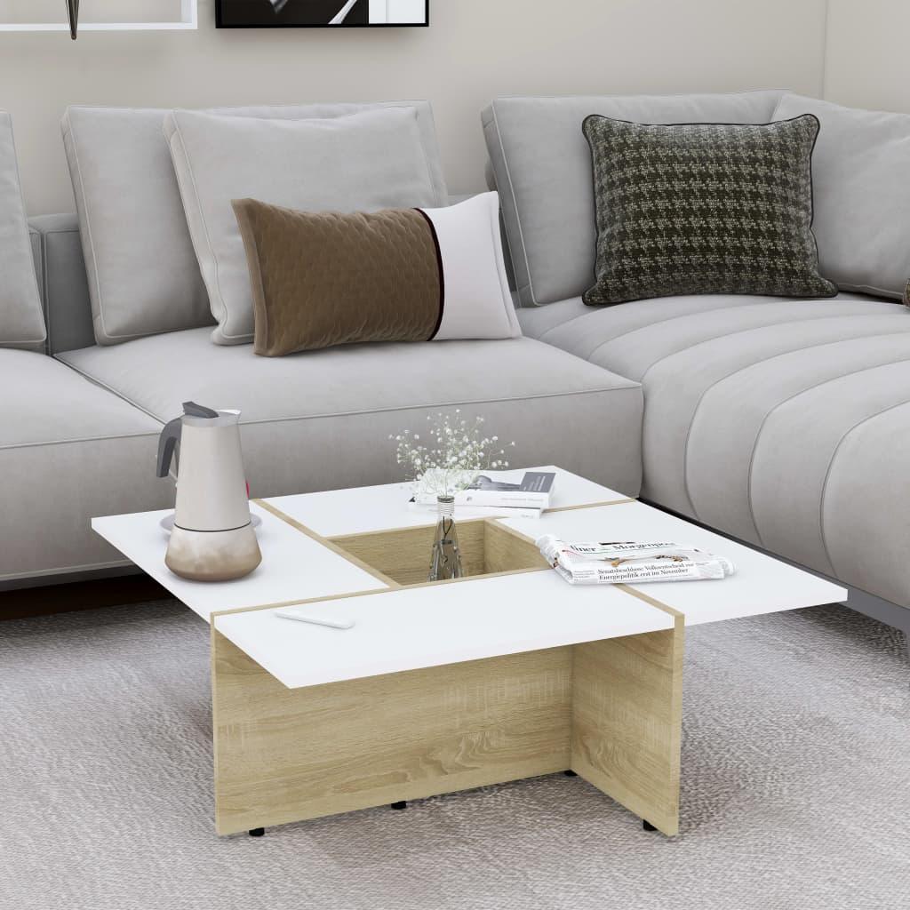 Konferenční stolek bílý a dub sonoma 79,5x79,5x30cm dřevotříska
