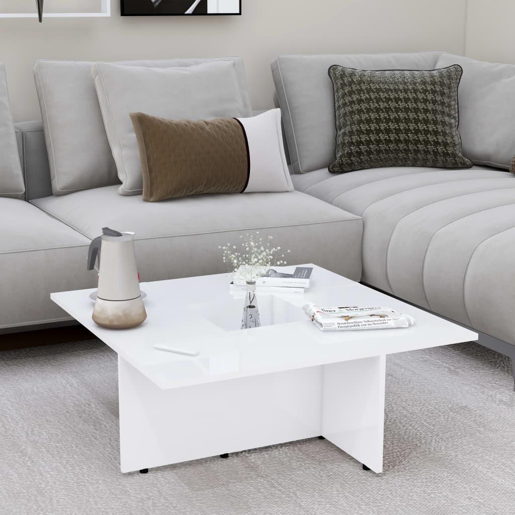Konferenční stolek vysoký lesk bílý 79,5x79,5x30 cm dřevotříska
