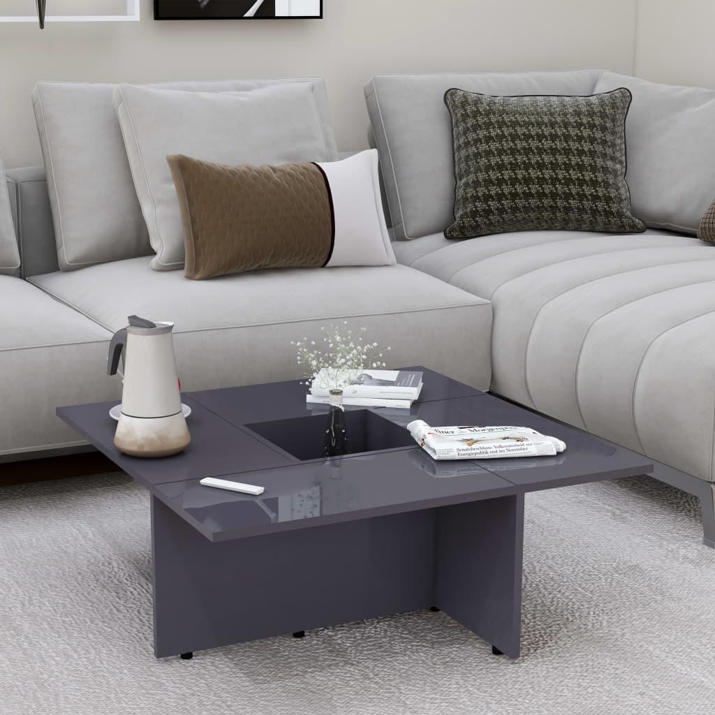 Konferenční stolek vysoký lesk šedý 79,5x79,5x30 cm dřevotříska