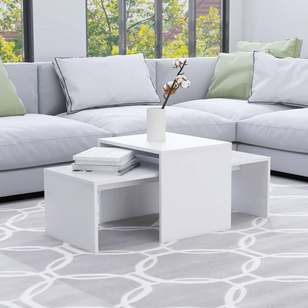 Set konferenčních stolků bílý 100 x 48 x 40 cm dřevotříska