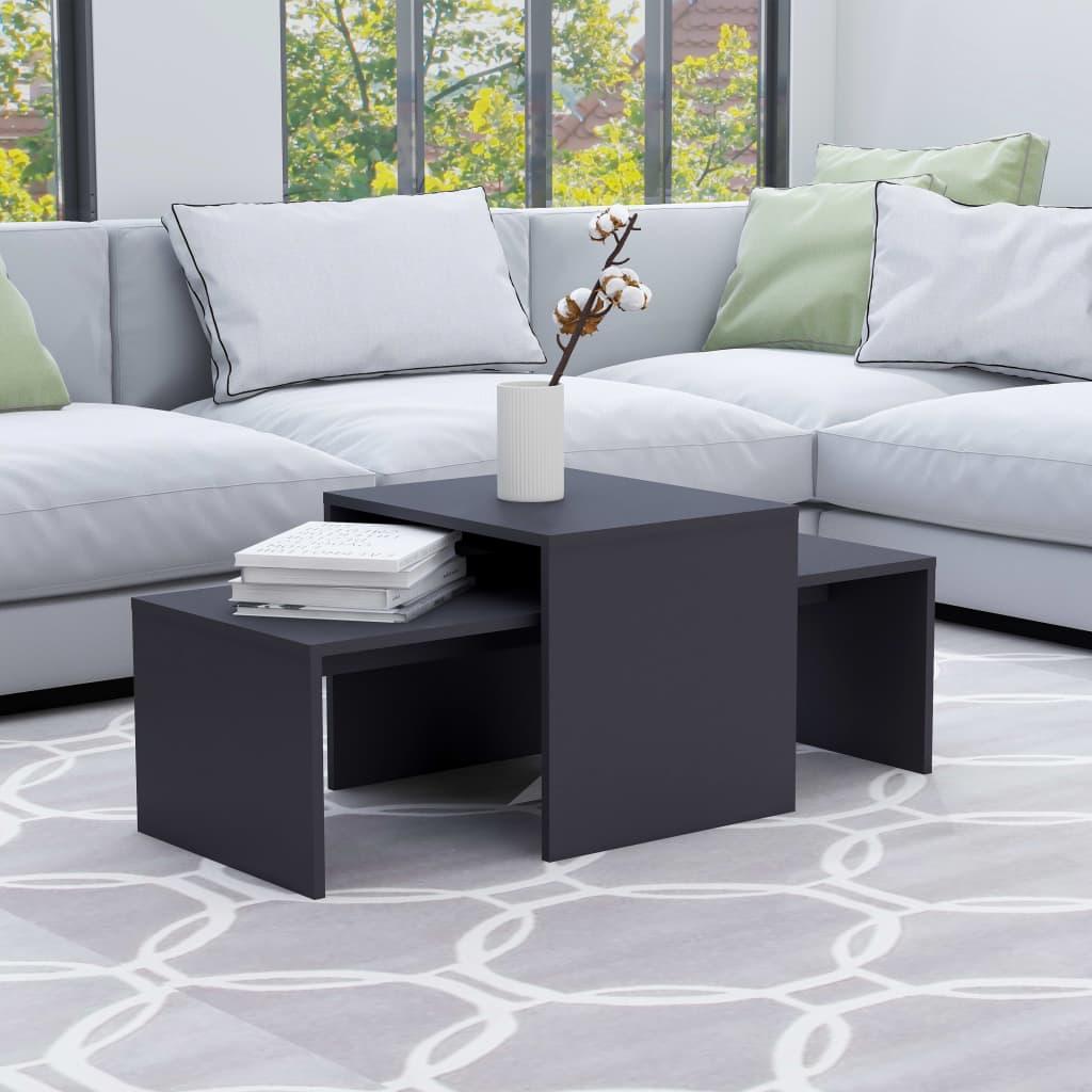 Set konferenčních stolků šedý 100 x 48 x 40 cm dřevotříska