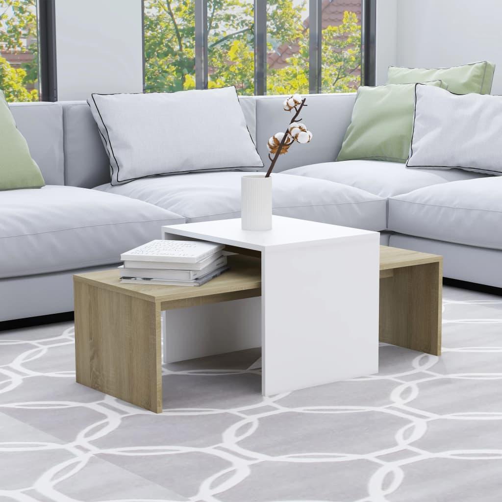Set konferenčních stolků bílý a sonoma 100x48x40 cm dřevotříska