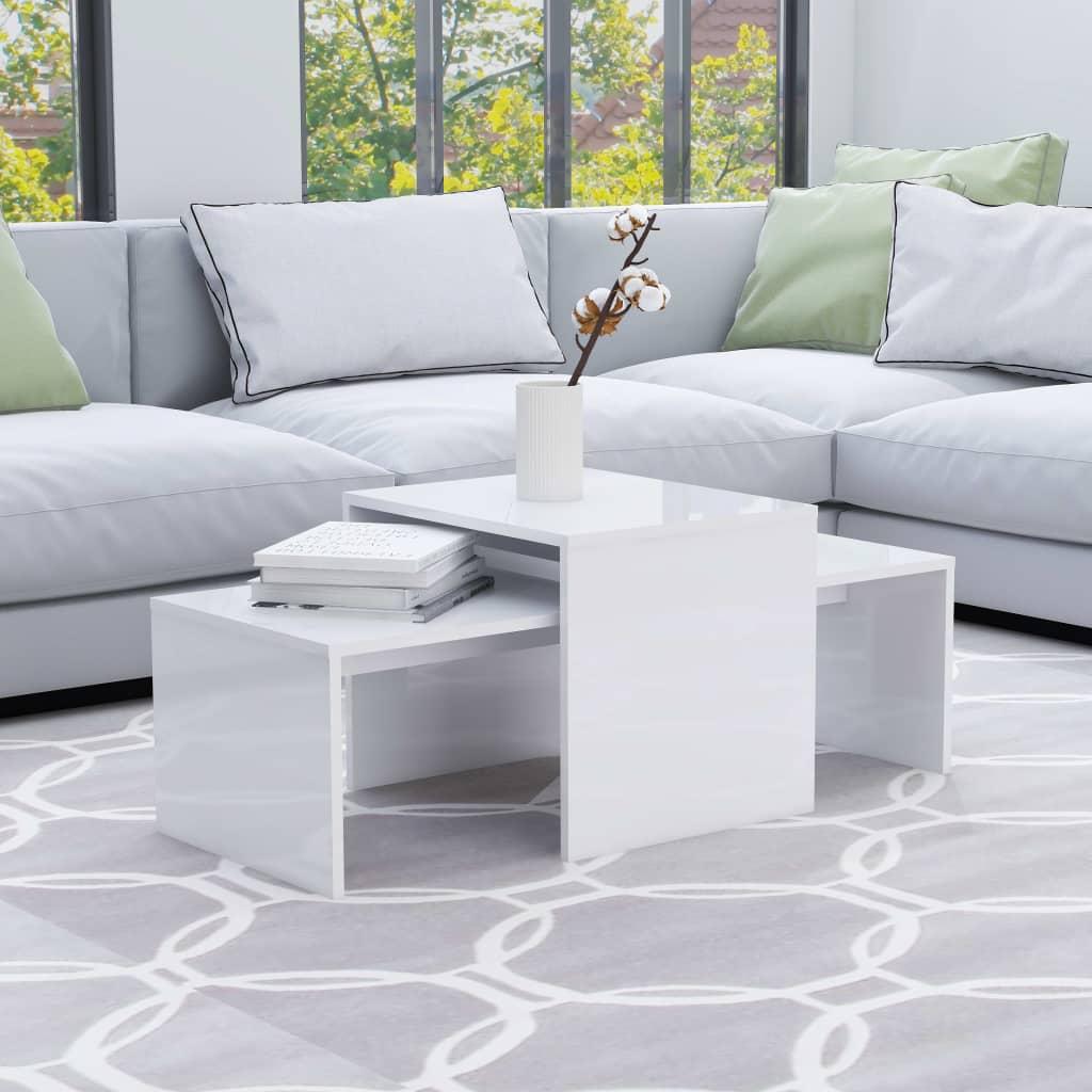 Konferenční stolky bílé vysoký lesk 100x48x40 cm dřevotříska