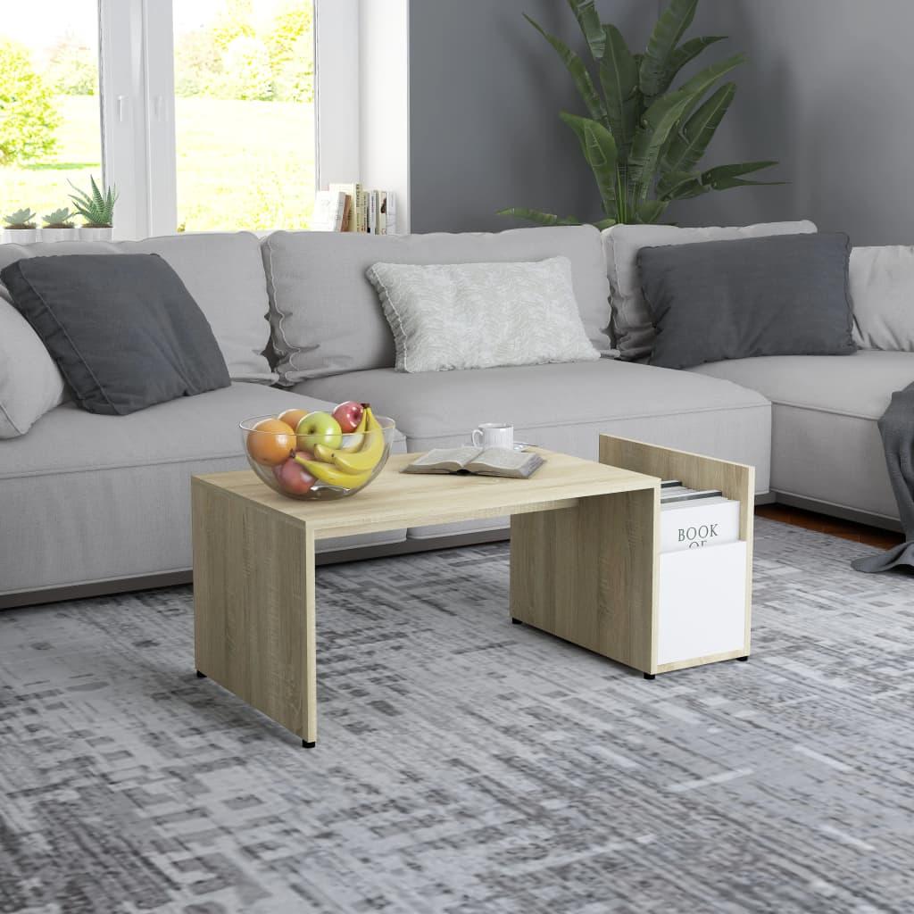Konferenční stolek bílý a dub sonoma 90x45x35 cm dřevotříska