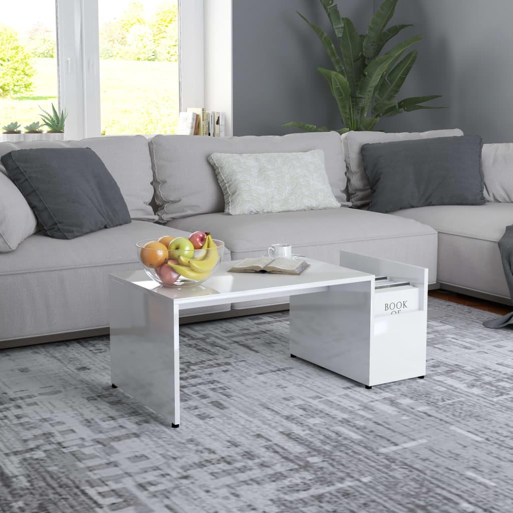 Konferenční stolek bílý s vysokým leskem 90x45x35cm dřevotříska