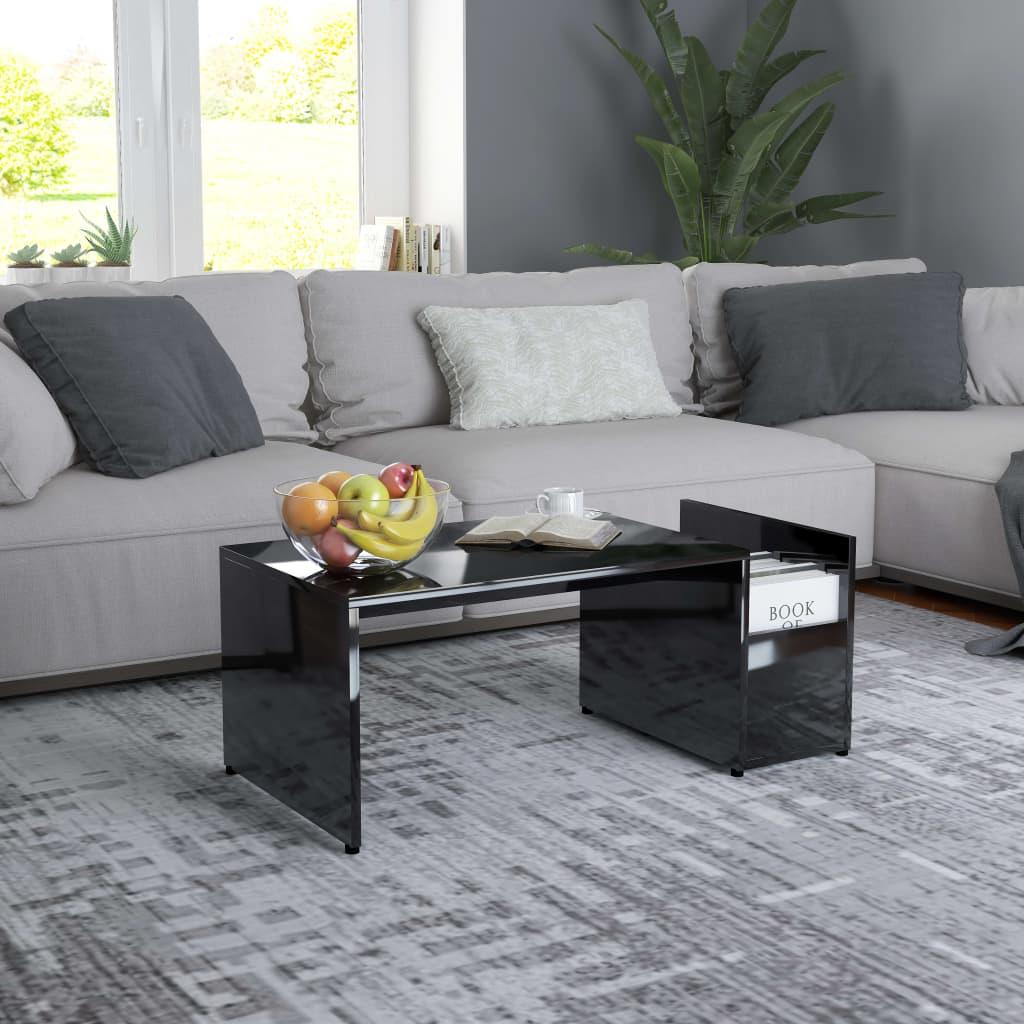 Konferenční stolek černý vysoký lesk 90x45x35 cm dřevotříska