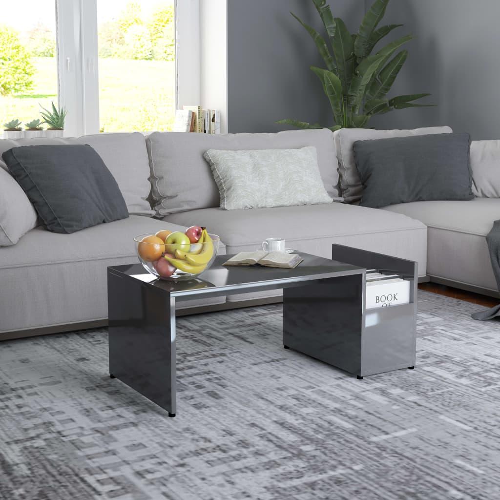 Konferenční stolek šedý s vysokým leskem 90x45x35cm dřevotříska