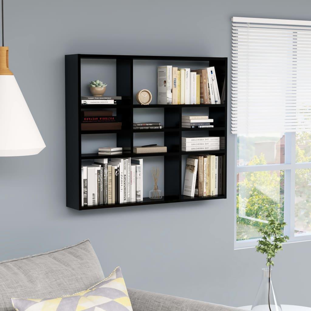 vidaXL Raft de perete, negru extralucios, 90x16x78 cm, PAL vidaxl.ro
