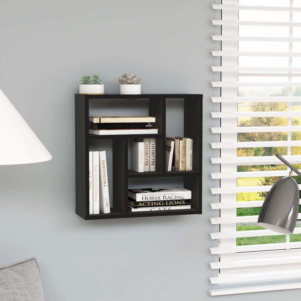 vidaXL Raft de perete, negru, 45,1 x 16 x 45,1 cm, PAL poza 2021 vidaXL