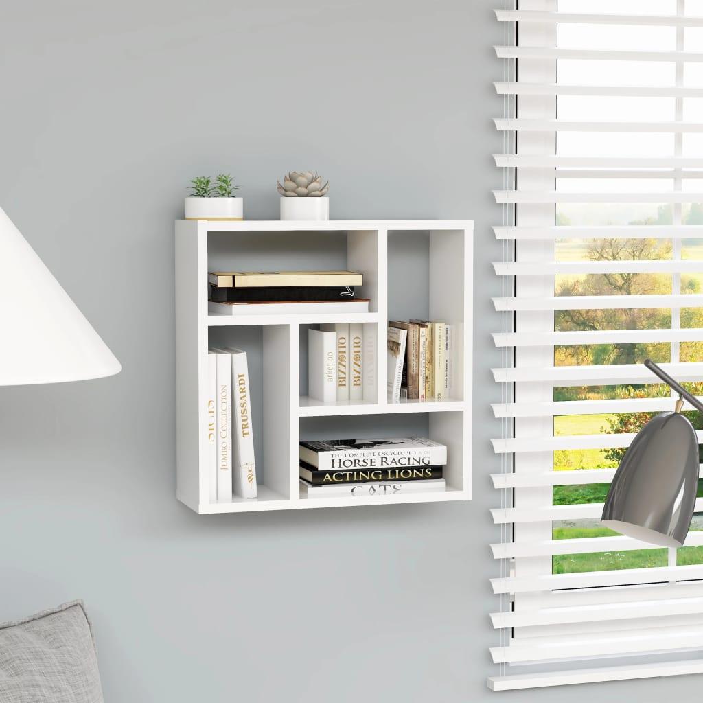 vidaXL Raft de perete, alb extralucios, 45,1 x 16 x 45,1 cm, PAL vidaxl.ro