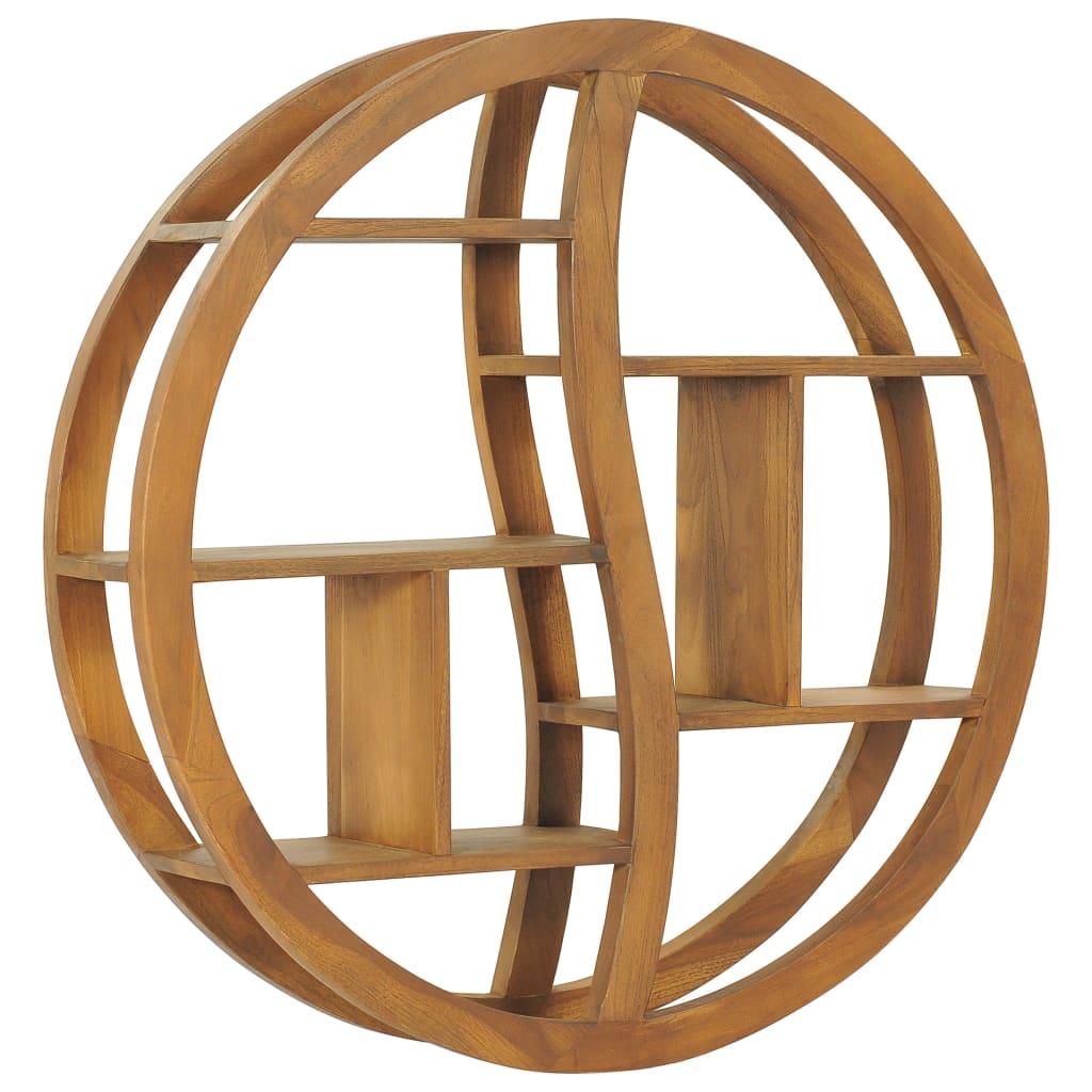 vidaXL Raft de perete Yin Yang, 80 x 17,5 x 80 cm, lemn masiv de tec imagine vidaxl.ro