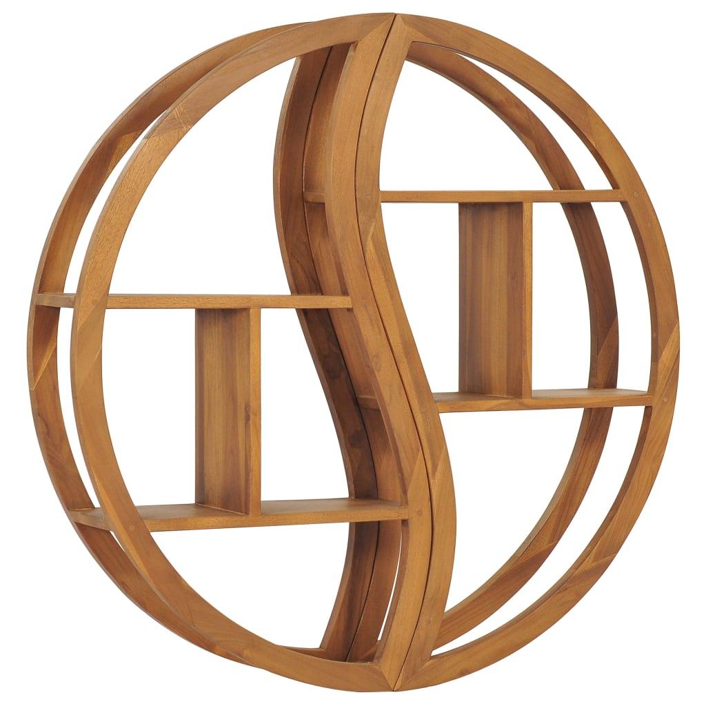 vidaXL Raft de perete Yin Yang, 100 x 20 x 100 cm, lemn masiv de tec poza vidaxl.ro