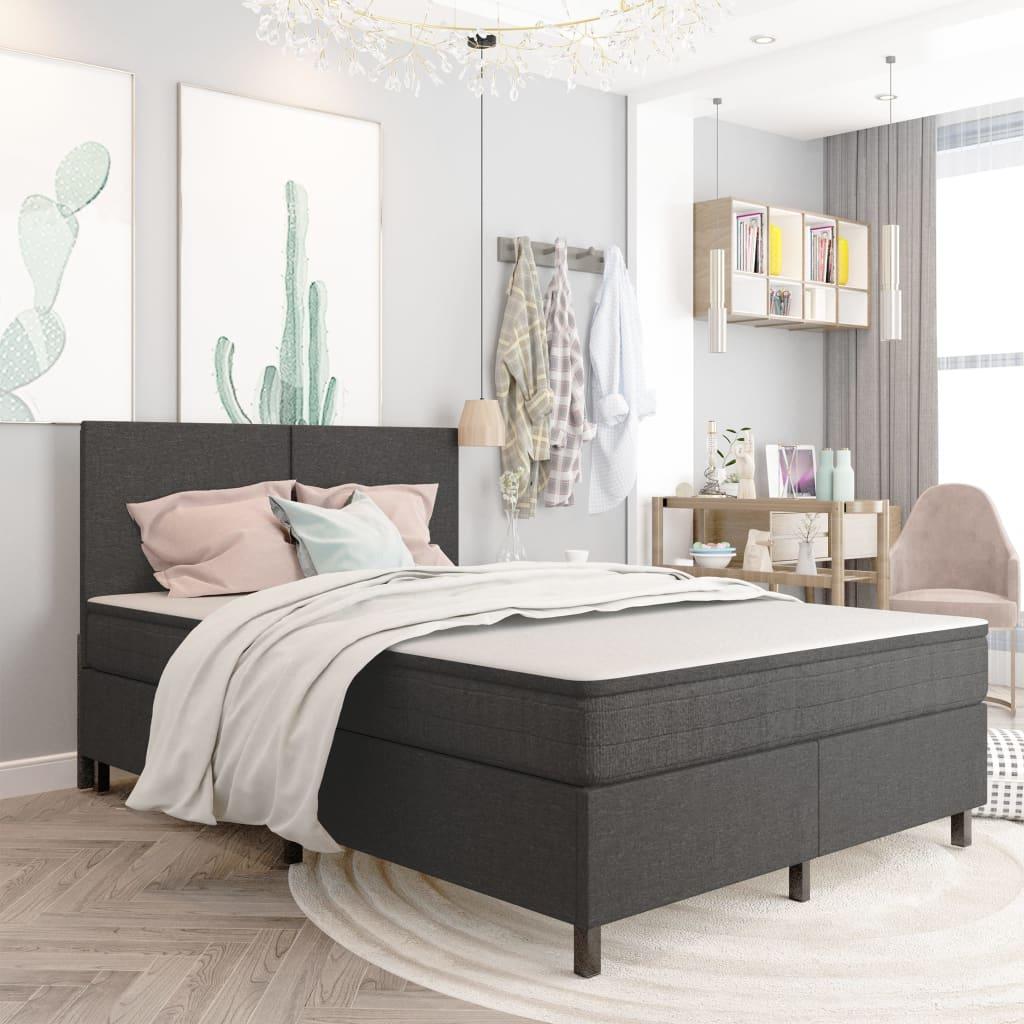 vidaXL seng med boxmadras 180x200 cm stof mørkegrå