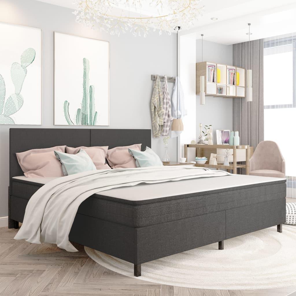 vidaXL seng med boxmadras 200x200 cm stof mørkegrå
