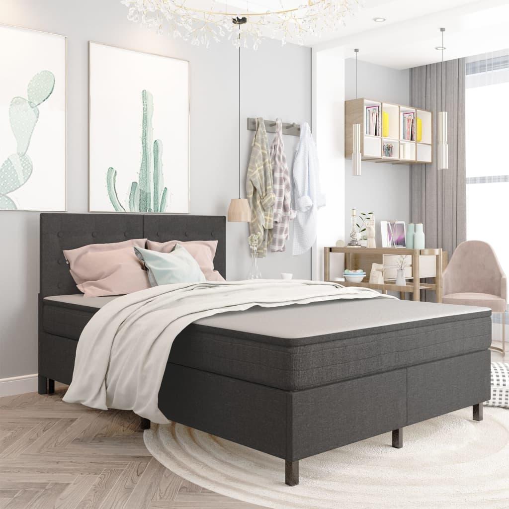 vidaXL seng med boxmadras 140x200 cm stof mørkegrå