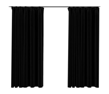 vidaXL Gordijnen linnen-look verduisterend haken 2 st 140x175 cm zwart
