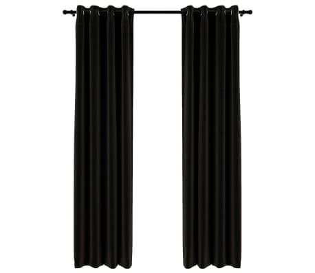 vidaXL Gordijnen linnen-look verduisterend 2 st 140x245 cm antraciet