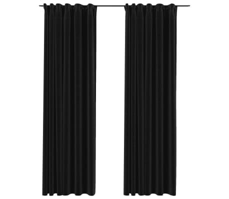 vidaXL Gordijnen linnen verduisterend haken 2 st 140x225 cm antraciet