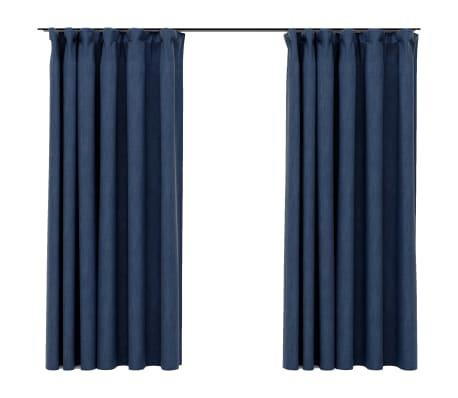 vidaXL Gordijnen linnen-look verduisterend haken 2 st 140x175 cm blauw