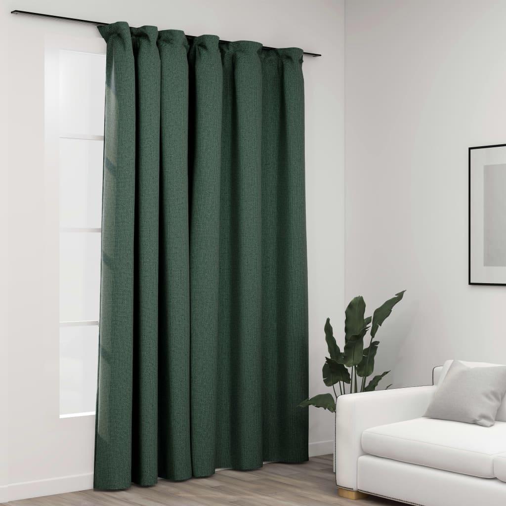 vidaXL Draperie opacă, aspect de in, verde, 290 x 245 cm, cu cârlige imagine vidaxl.ro