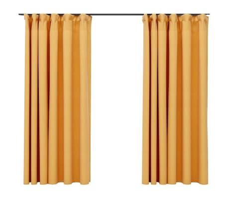 vidaXL Gordijnen linnen-look verduisterend haken 2 st 140x175 cm geel