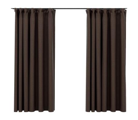 vidaXL Gordijnen linnen-look verduisterend haken 2 st 140x175 cm taupe