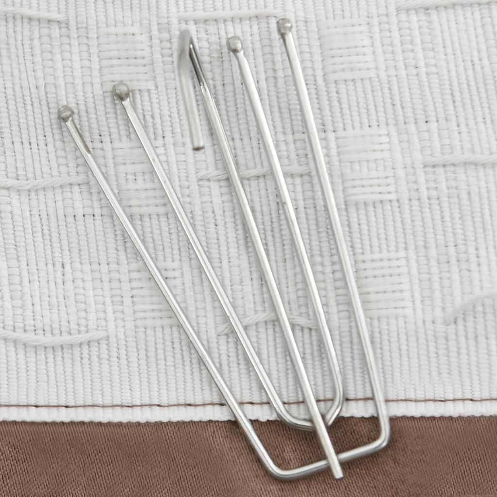Gordijnen linnen-look verduisterend haken 2 st 140x225 cm taupe