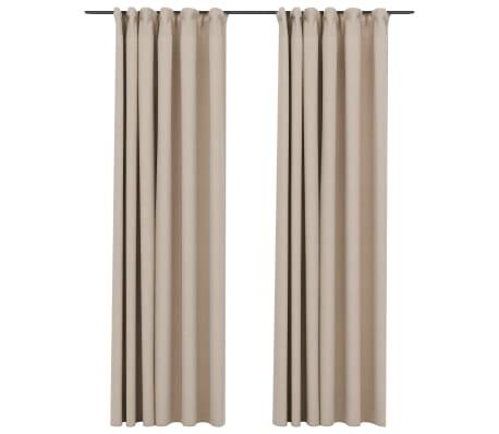 vidaXL Gordijnen linnen-look verduisterend haken 2 st 140x225 cm beige