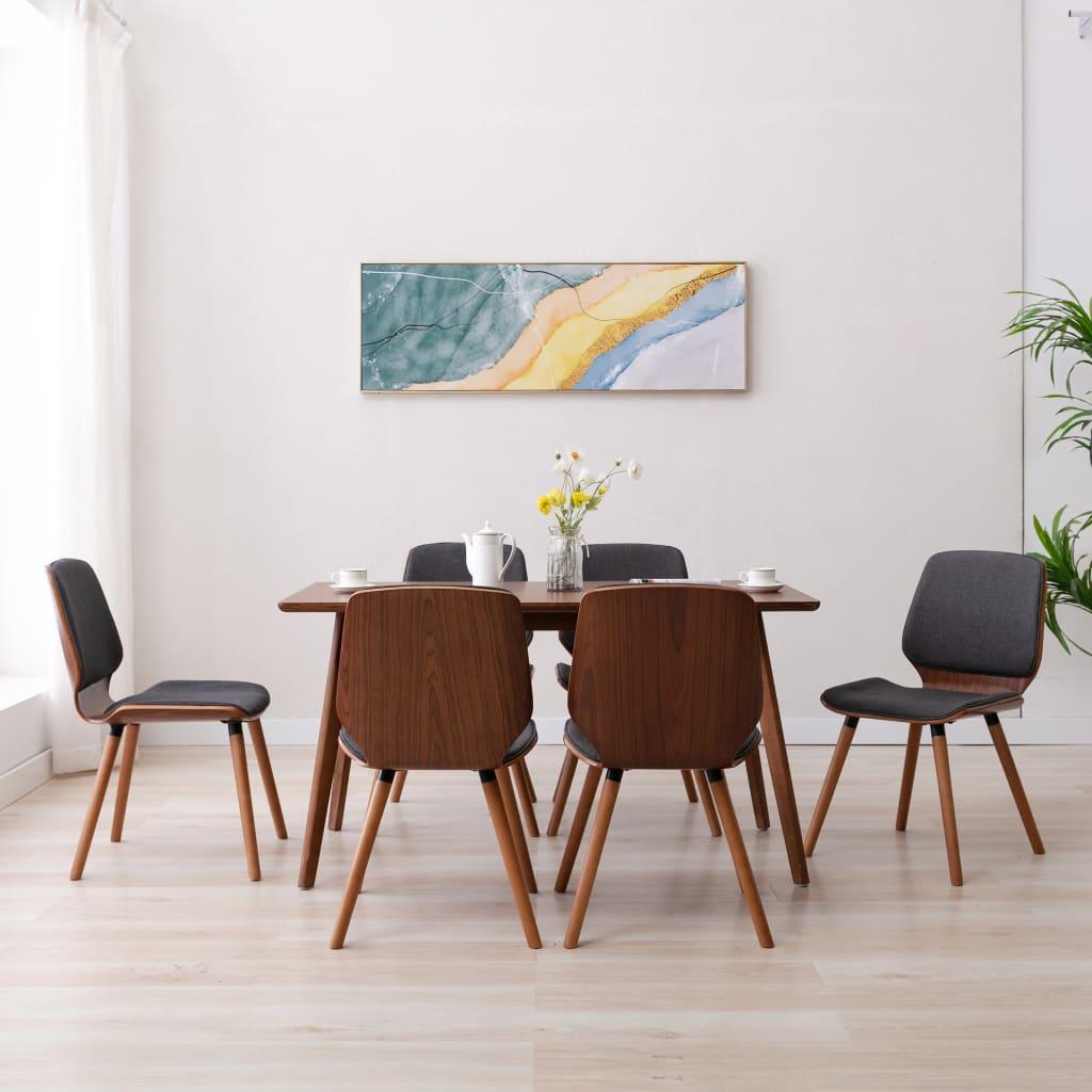 vidaXL Blagovaonske stolice od tkanine 6 kom sive