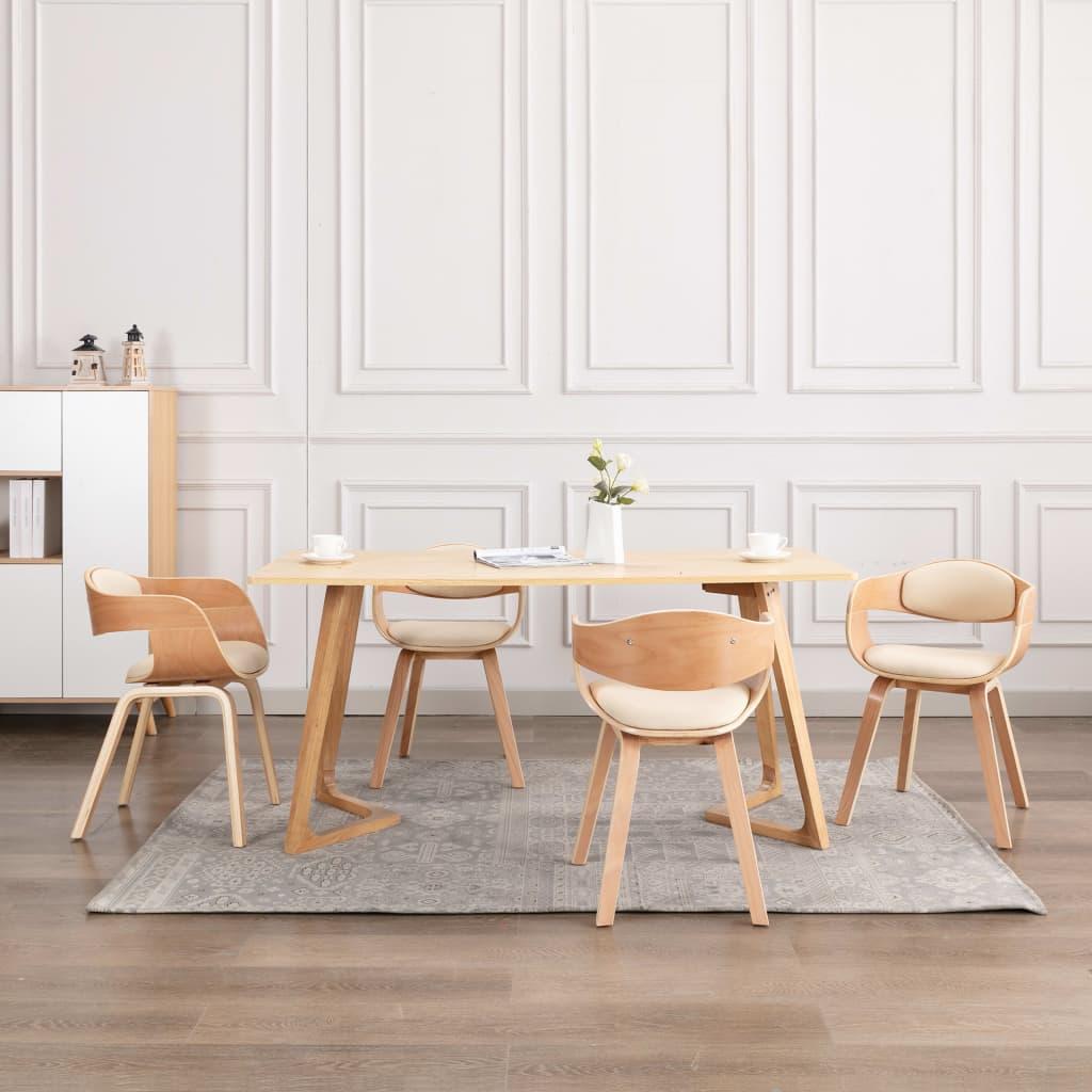 vidaXL Scaune de bucătărie, 4 buc., lemn curbat & piele ecologică vidaxl.ro