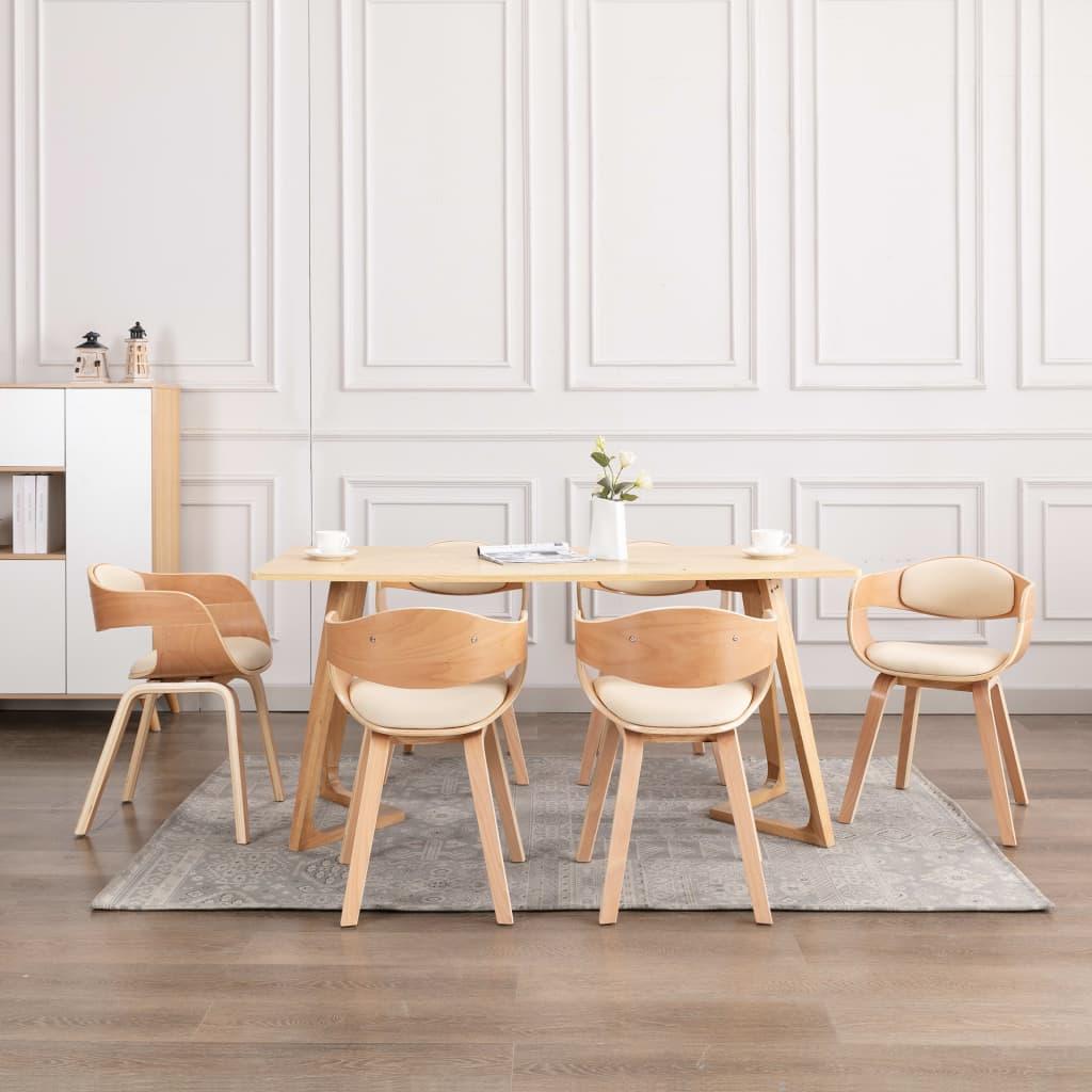 vidaXL Scaune de bucătărie, 6 buc., lemn curbat și piele ecologică vidaxl.ro