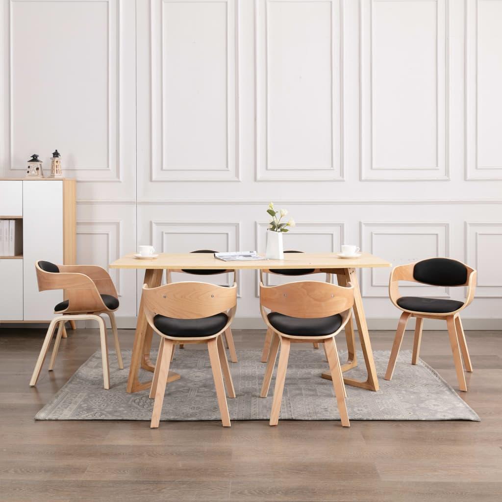 <ul><li>Farbe: Schwarz </li><li>Polstermaterial: Kunstleder (55% Polyurethan, 45% Baumwolle), Bugholz</li><li>Gesamtabmessung: 49 x 51,5 x 71,5 cm (B x T x H)</li><li>Sitzbreite: 40 cm</li><li>Sitztiefe: 39 cm</li><li>Sitzhöhe vom Boden: 49 cm</li><li>Rückenlehnen-Höhe: 30 cm</li><li>Armlehne: Ja</li><li>Armlehnenhöhe: 19 cm</li><li>Montage erforderlich: Ja</li><li><strong>Lieferung enthält:</strong></li><li>6 x Esszimmerstuhl</li></ul>